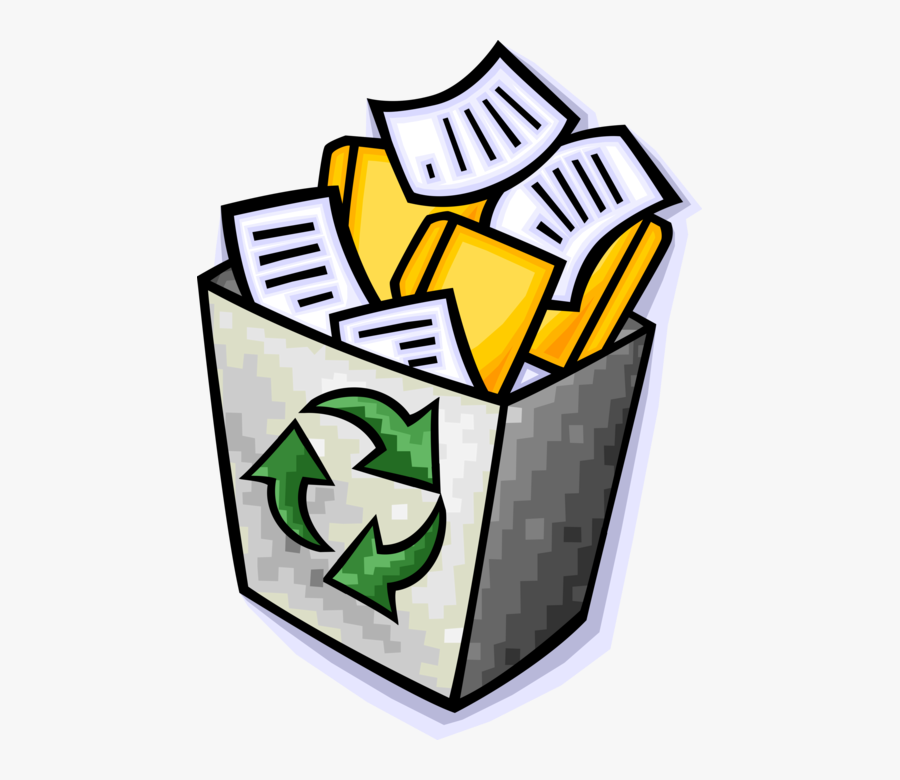 Vector Illustration Of Recycle Bin Container Holds - Waste Recycling, Transparent Clipart