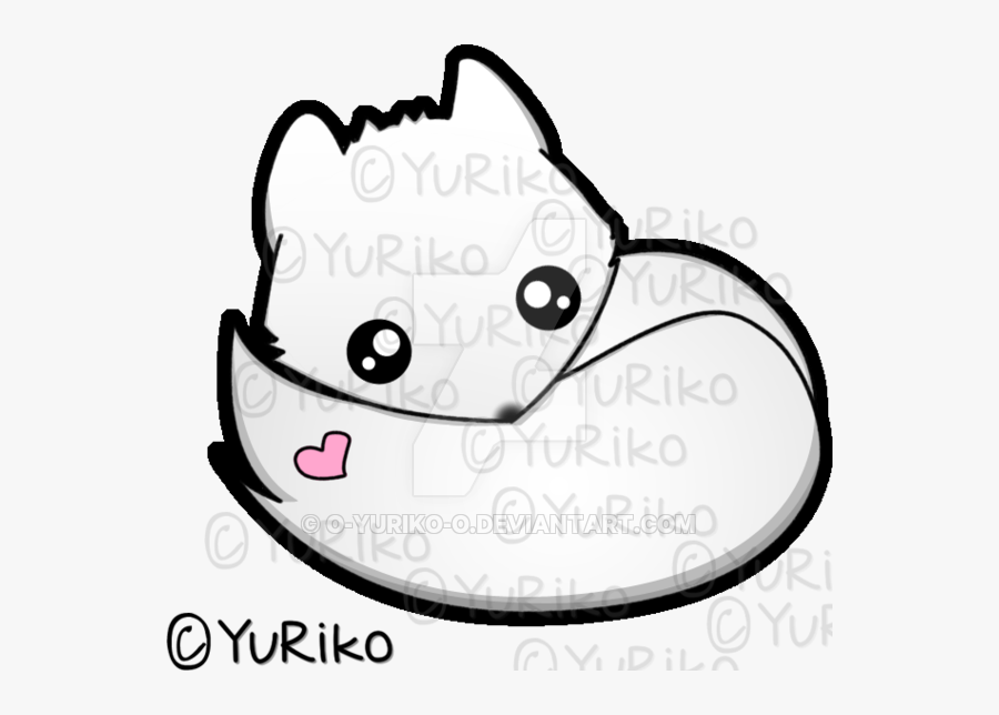 Cute Arctic Fox Drawing, Transparent Clipart