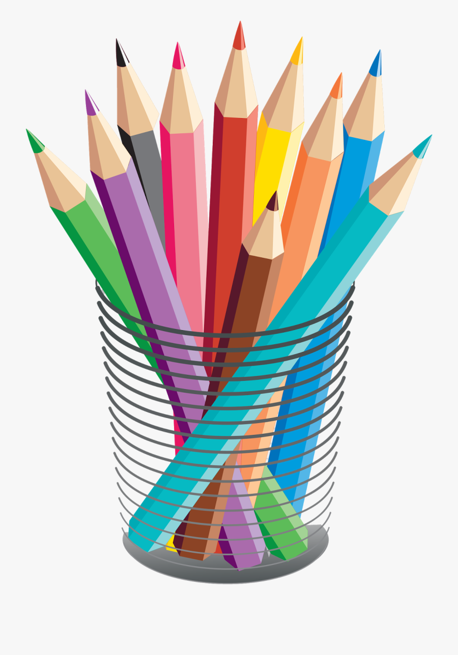 Transparent Library Colored Pencil Stationary Transprent - Colored Pencils Vector, Transparent Clipart