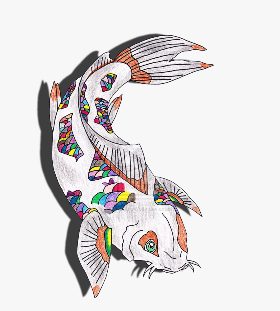 Rainbow Koi Fish Drawing By Kittykatandwolfy - Art Cool Fish Drawing, Transparent Clipart