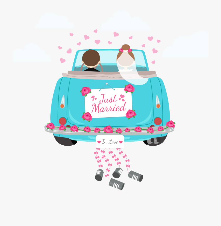 Transparent Just Married Png - Just Married Cartoon Wedding Car, Transparent Clipart