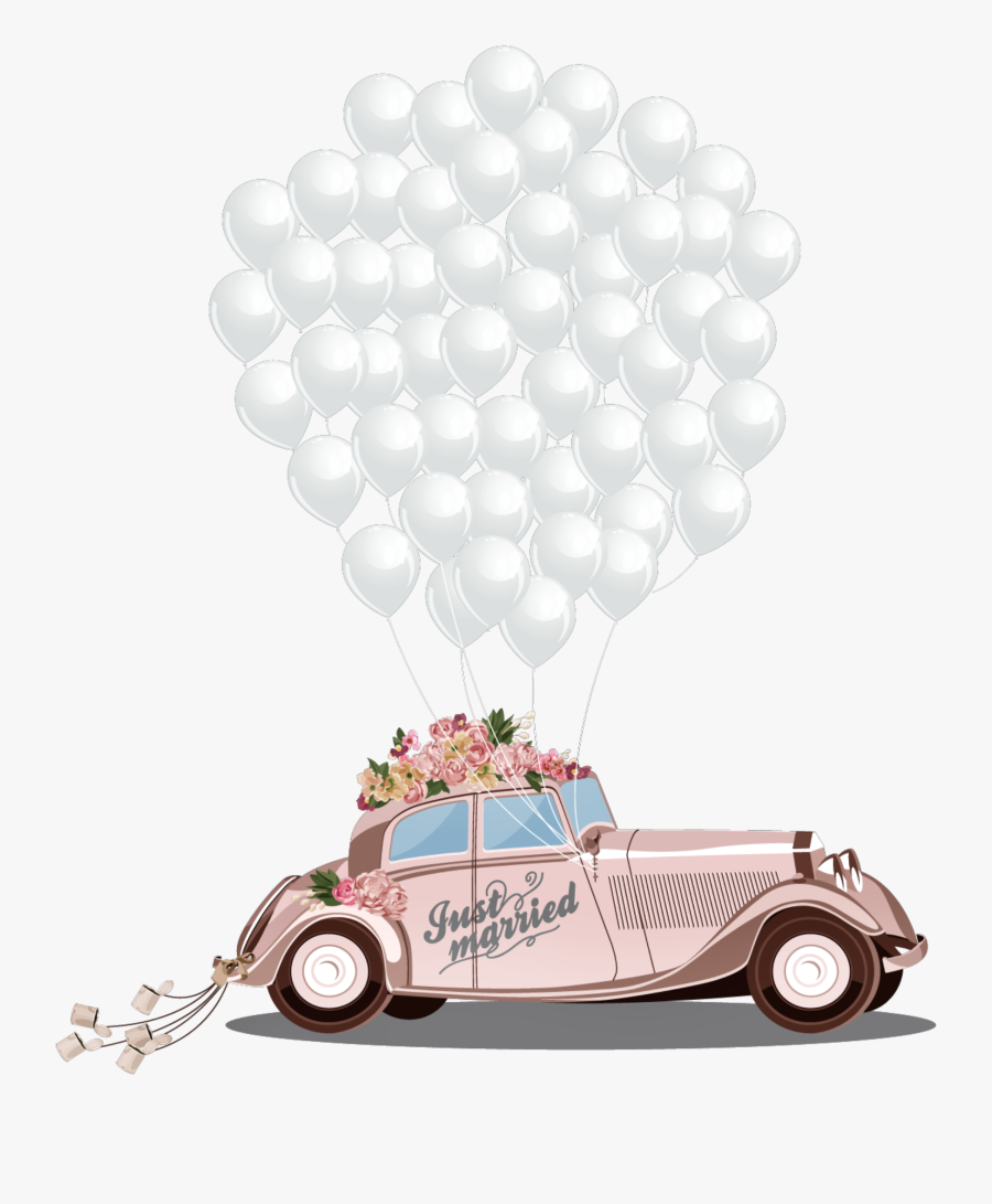 #ftestickers #clipart #car #balloons #justmarried #cute - Car Wedding Png Transparent, Transparent Clipart