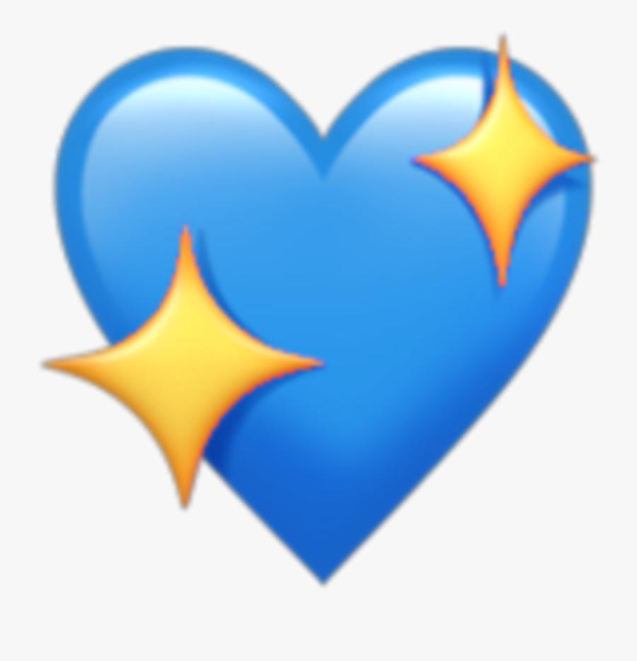 Heart Blue Star Emoji Kawaii Tumblr - Heart Emoji Transparent Background, Transparent Clipart