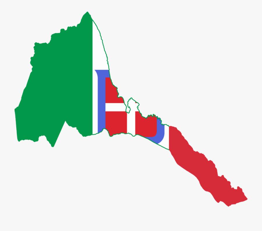 Transparent Italy Flag Clipart - Italian Eritrea Flag Map, Transparent Clipart