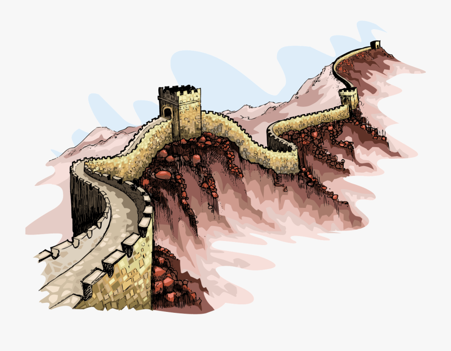 Great Wall Of China Illustration Png, Transparent Clipart