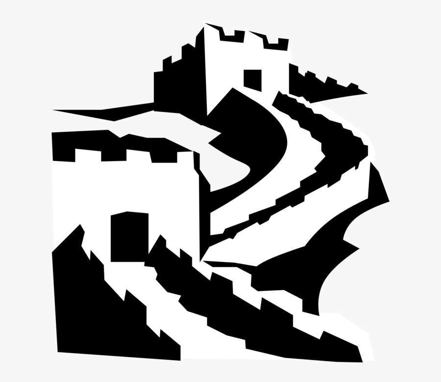 Vector Illustration Of Great Wall Of China Fortification - Great Wall Of China Vector Png, Transparent Clipart
