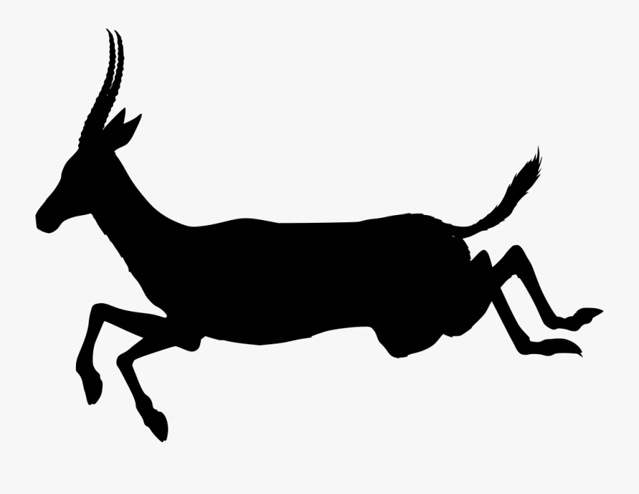 Clip Art Antelope Jumping - Antelope Black And White Drawing Clipart, Transparent Clipart