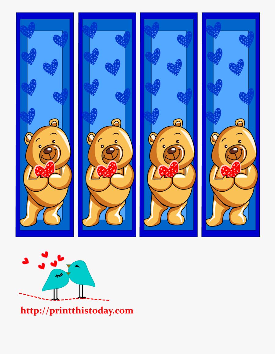 Transparent Cute Teddy Bear Clipart - Teddy Bear Bookmarks Template, Transparent Clipart