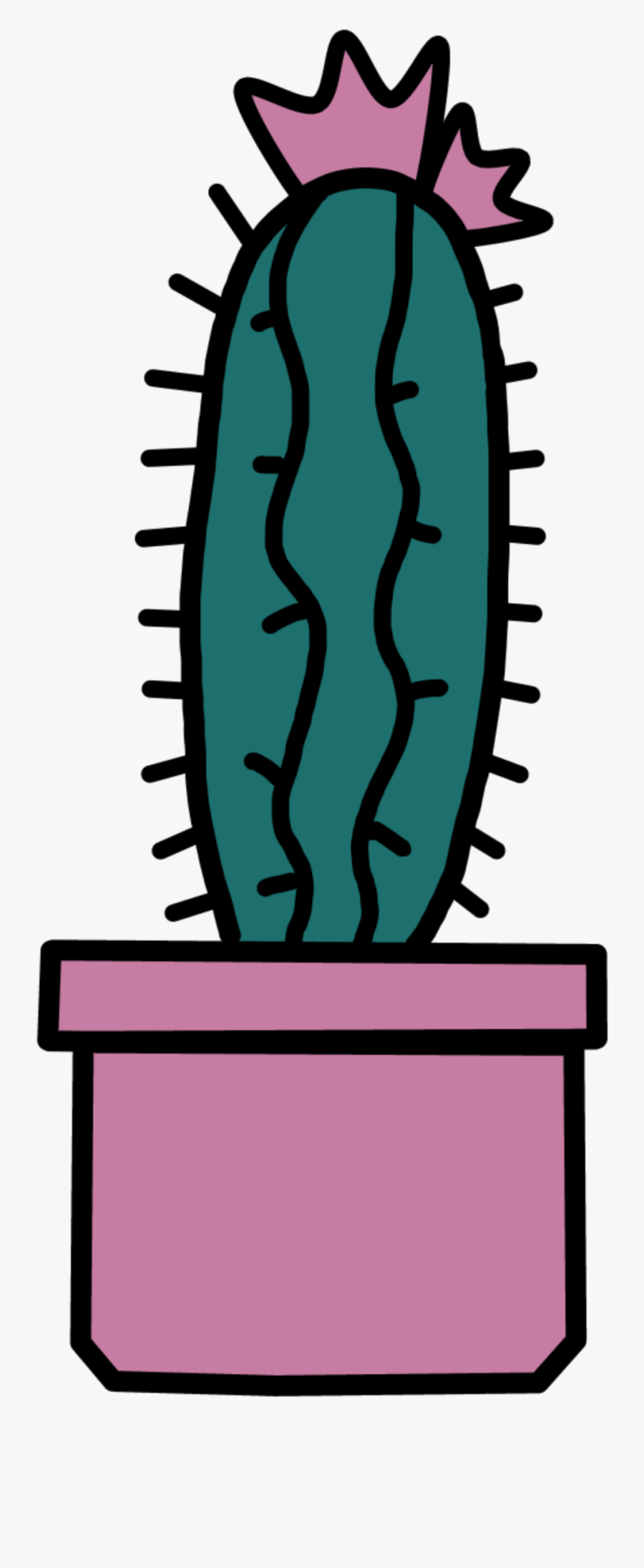 #cactus #draw #cute #pink #green #freetoedit #ftestickers - Prickly Pear, Transparent Clipart