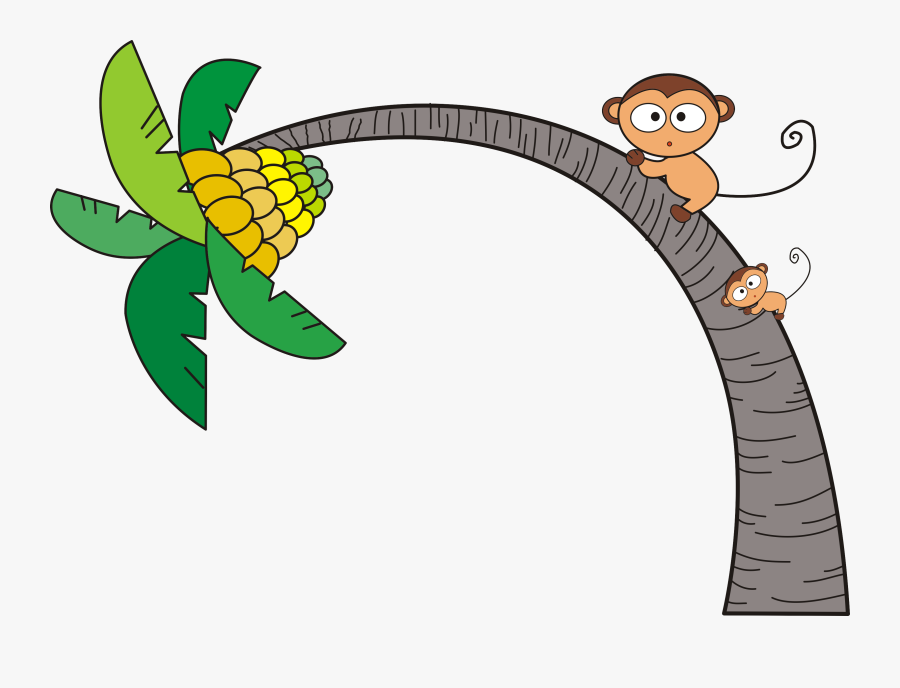 Tree Clip Art Coconut Monkey Transprent Png - Clipart Png Banana Tree Cartoon, Transparent Clipart
