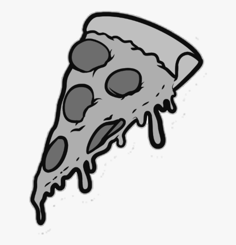 #pizza #slice #food #eat #grey - Cartoon Pizza Slice Png, Transparent Clipart