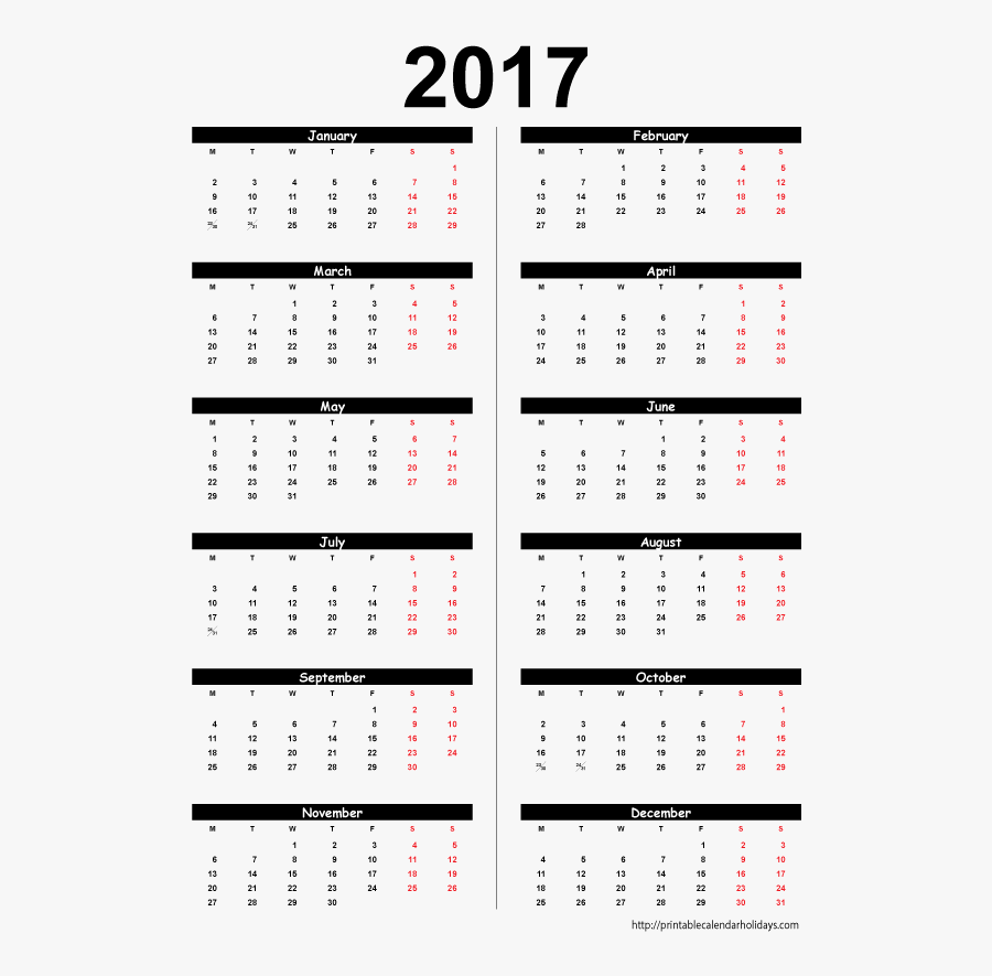 Clip Art Blank Yearly Template - 12 Month Printable 2017 Calendar, Transparent Clipart