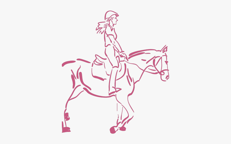 Horse Riding Clipart Sketch Horse - Girl Riding Horse Drawing, Transparent Clipart