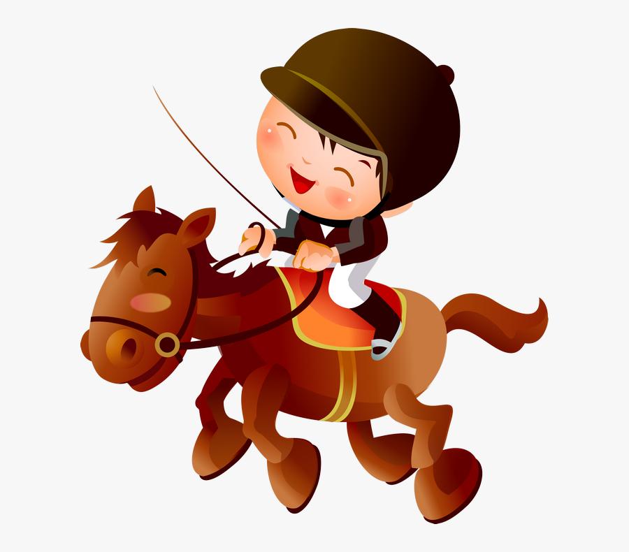 Horse Riding Cartoon Png - Cartoon Child Horse Riding, Transparent Clipart