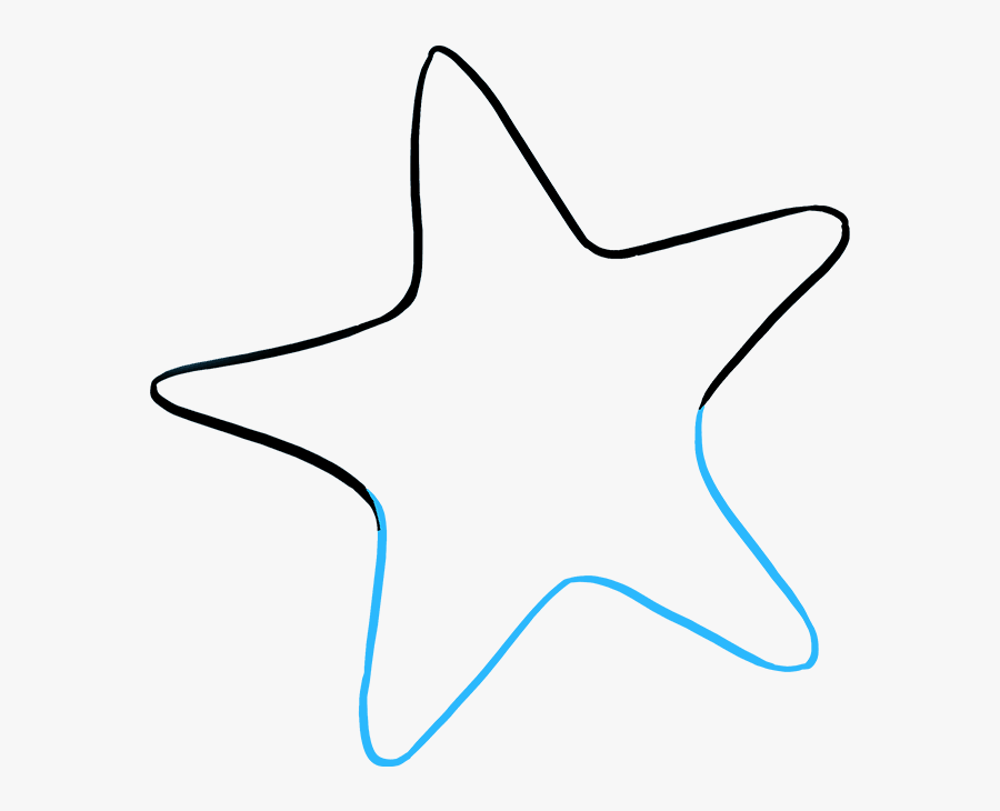How To Draw Cute Starfish - Sea Star Line Drawing, Transparent Clipart