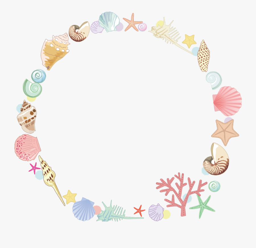 #star #sea #summer #seastar #shell #coral #colorful - Sea Shell Frame Png, Transparent Clipart