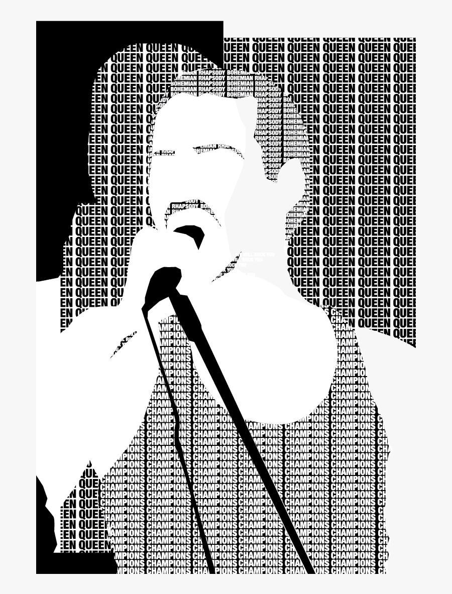 Pop Art Freddie Mercury Black And White, Transparent Clipart