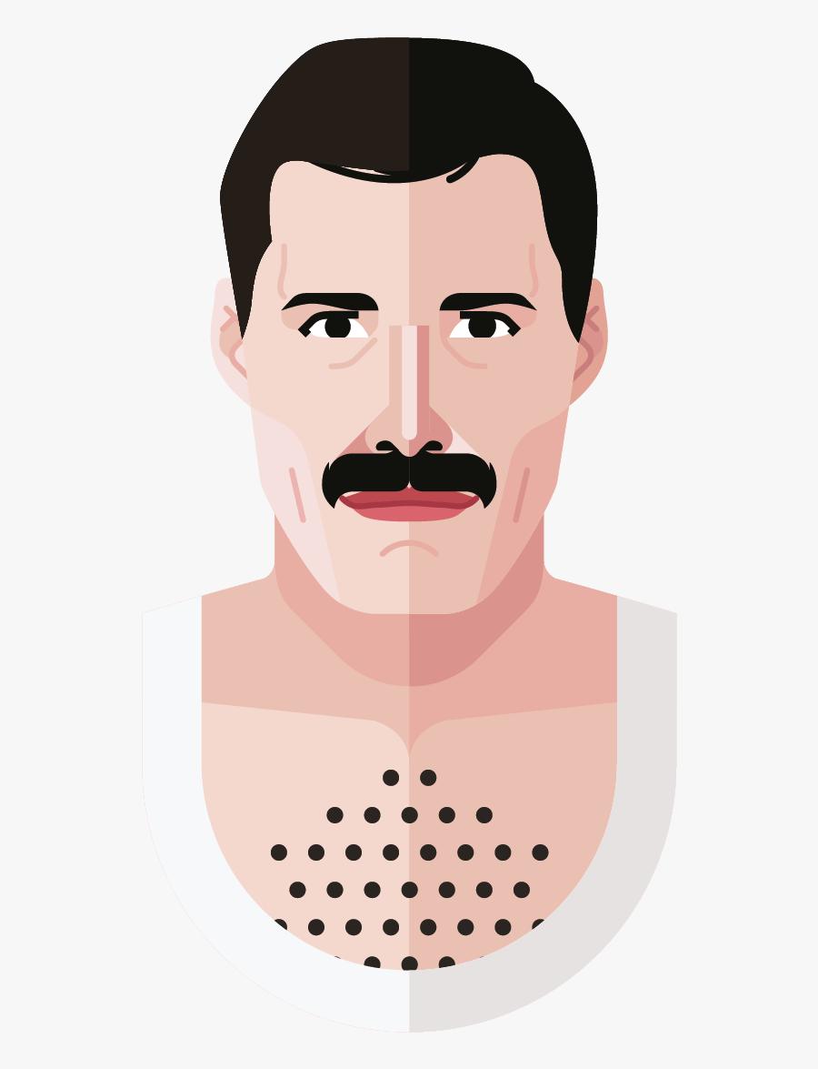 Freddie Mercury Head Cartoon, Transparent Clipart