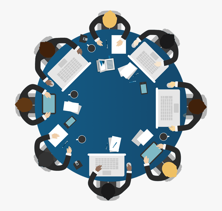 Meeting Book - Round Table Business Meeting, Transparent Clipart