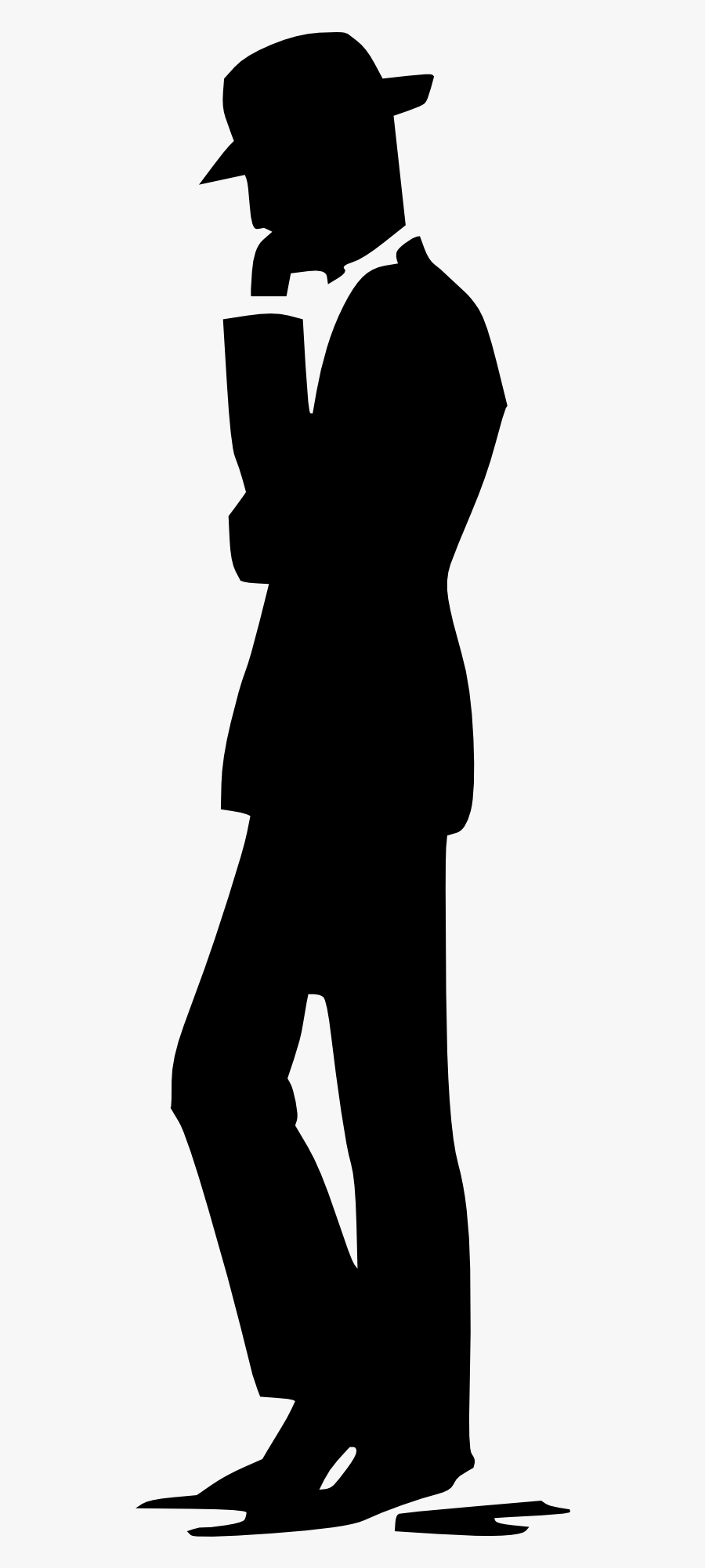 Silhouette Cartoon Clip Art - Man With Hat Silhouette Png, Transparent Clipart