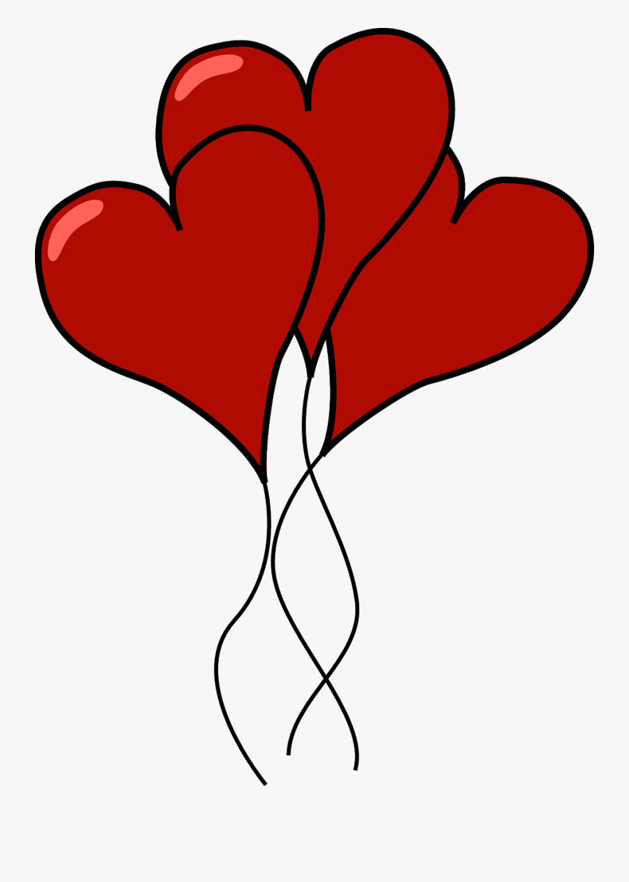 Transparent Heart Balloon Png - Heart Shaped Balloons Clipart, Transparent Clipart