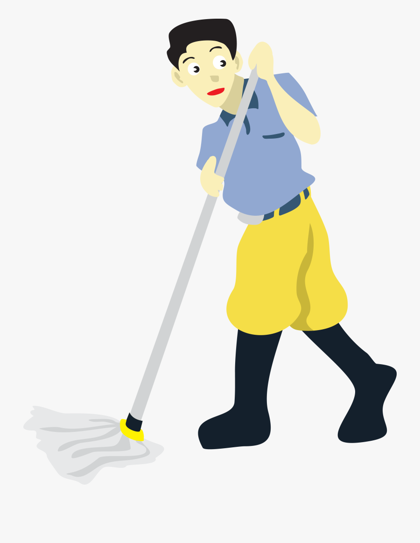 Transparent Mop Png - Man Mopping Clipart, Transparent Clipart