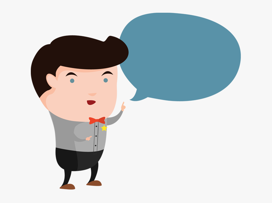 Cartoon Man With A Bubble To Speech - Thinking Man Cartoon Png, Transparent Clipart