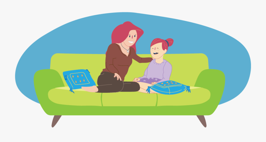 Girl And Parent Sitting Together On Couch And Talking - Talking To Parents Clipart, Transparent Clipart