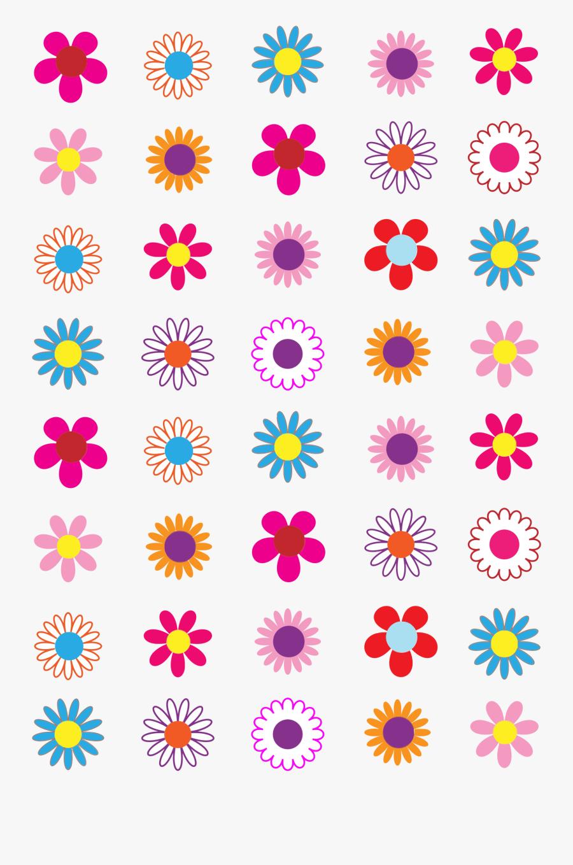 Floral Clipart Basic - Colorful Flower Design Clipart, Transparent Clipart