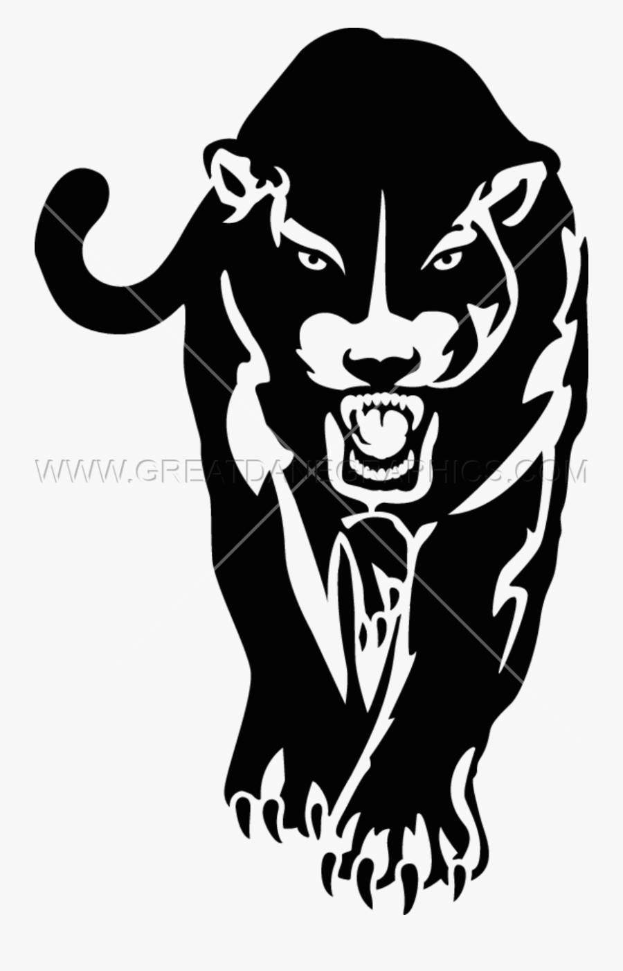 Black Panther Jaguar Cougar Stencil Clip Art - Stencil Panther Png, Transparent Clipart