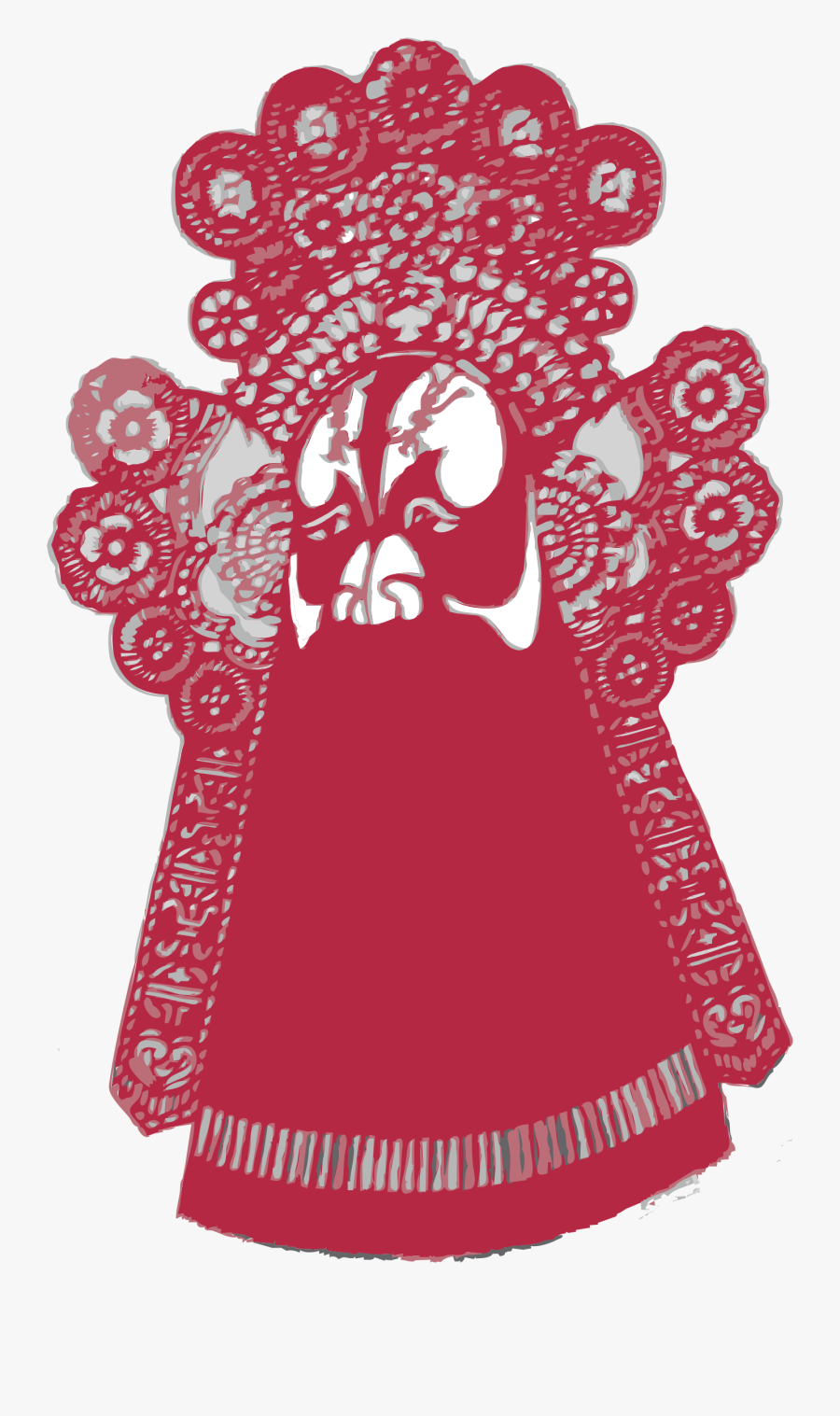 Chinese Paper Cut Style Face Mask Cleaned - Chinese Paper Cutting Png, Transparent Clipart