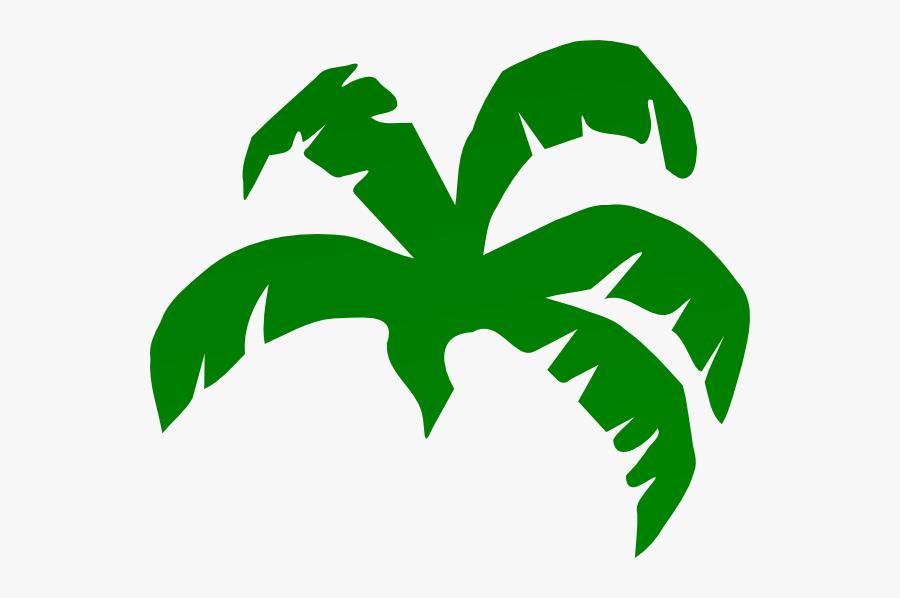 Palm Tree Leaves Clip Art - Banana Leaf Cartoon Png, Transparent Clipart