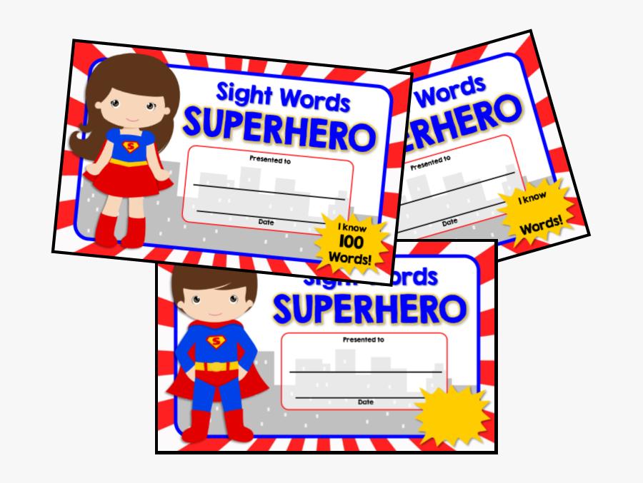 Superhero Sight Word Certificate, Transparent Clipart