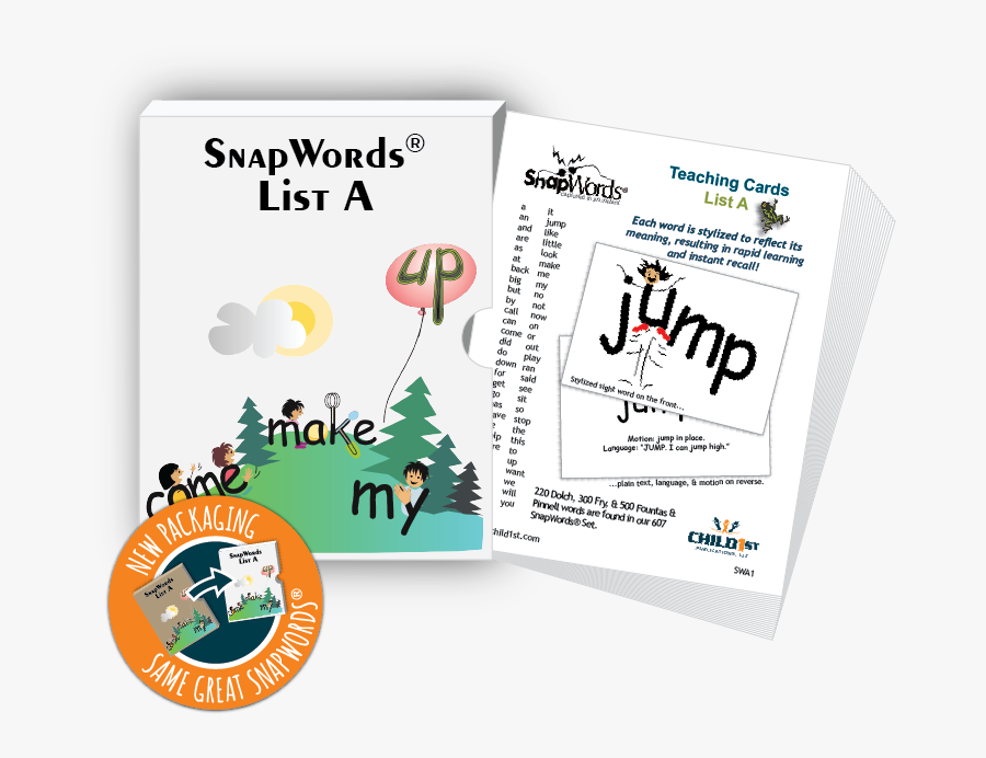 """Snapwords® List A Teaching Cards""""  Class=""""lazyload - Snap Words, Transparent Clipart"""