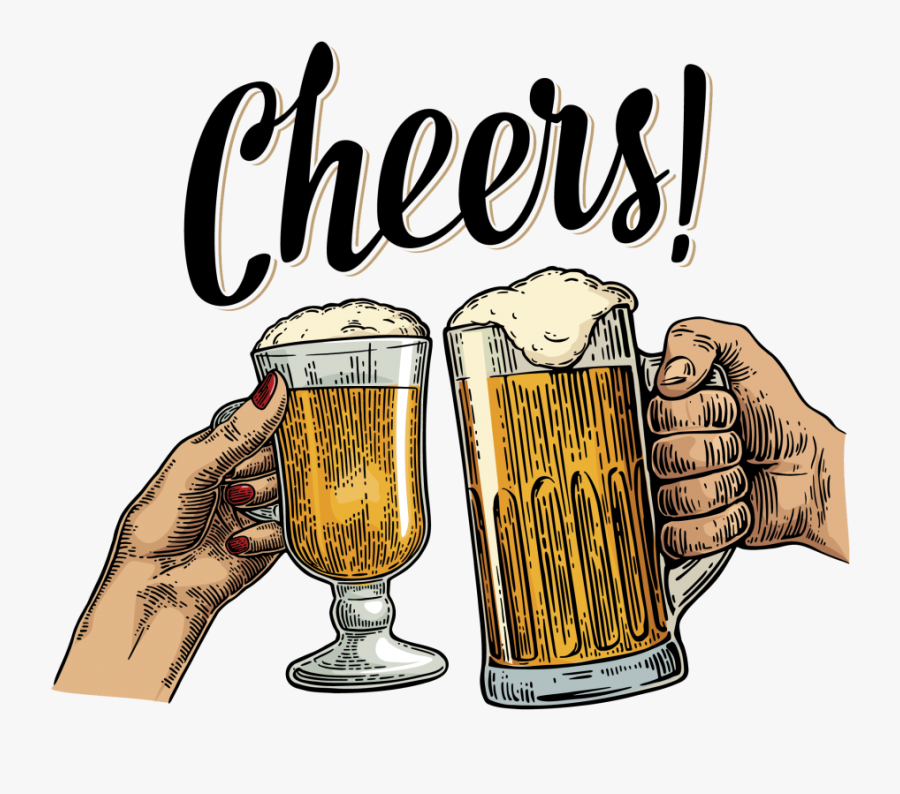 Beer And Wine Glass Cheers, Transparent Clipart