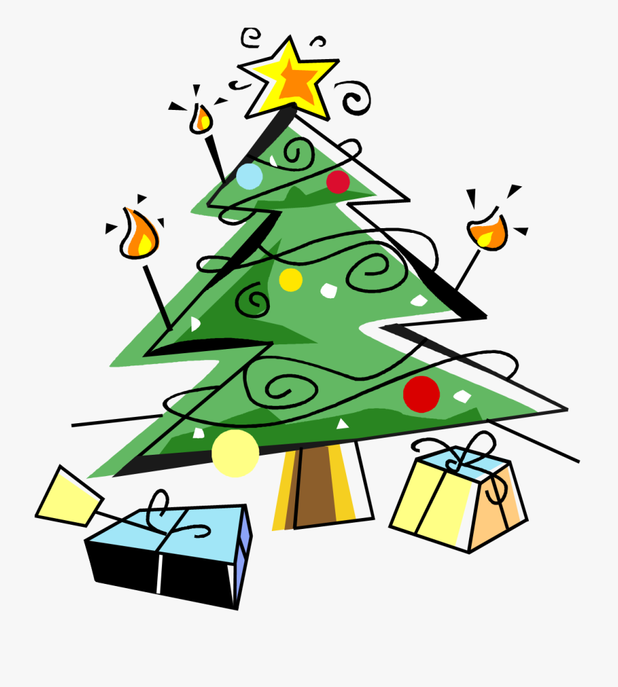Benefit - Clipart - Christmas Tree And Presents Clip Art, Transparent Clipart