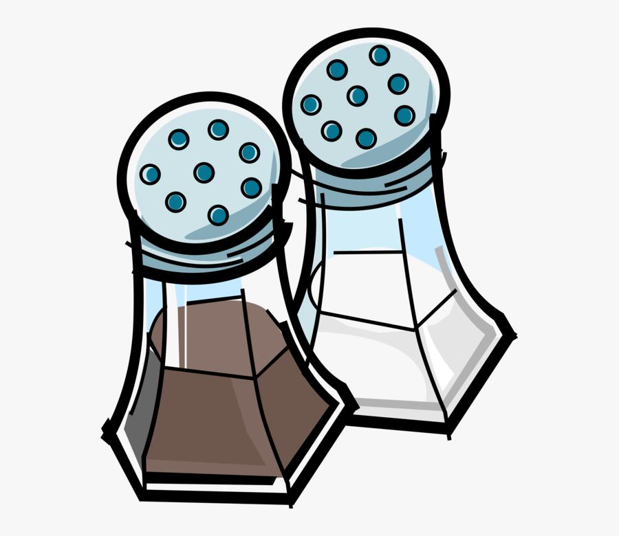 Vector Illustration Of Kitchen Condiment Dispenser - Salt And Pepper Shakers Clip, Transparent Clipart
