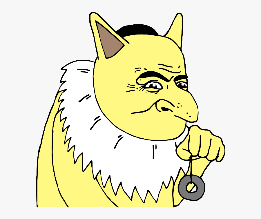 Yellow Face Facial Expression Cat Black And White Small - Le Happy Merchant Pokemon, Transparent Clipart