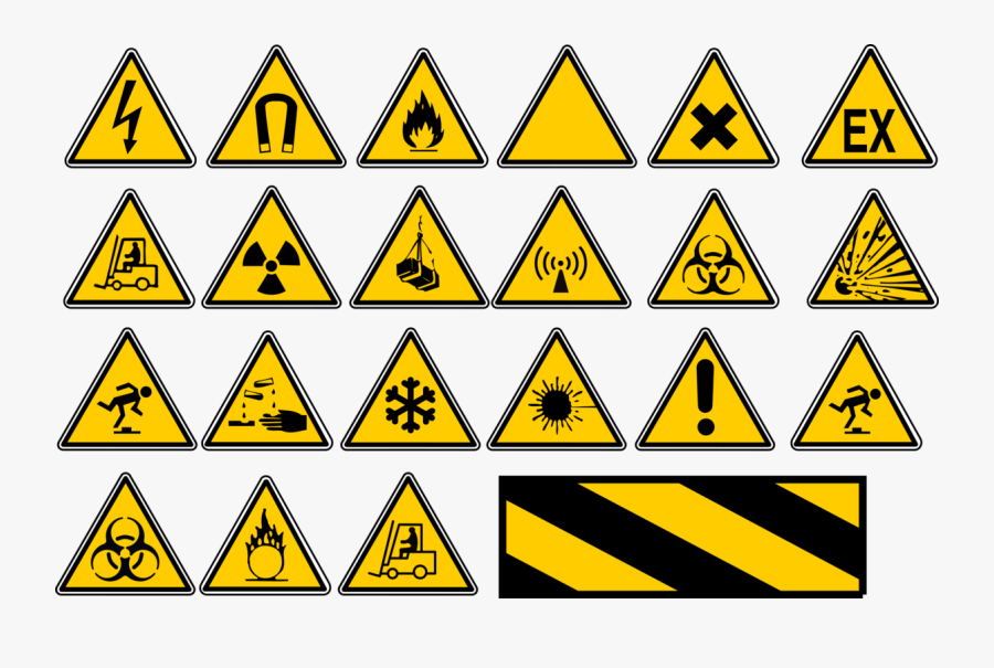 Triangle,symmetry,area - Yellow Triangle Warning Signs, Transparent Clipart
