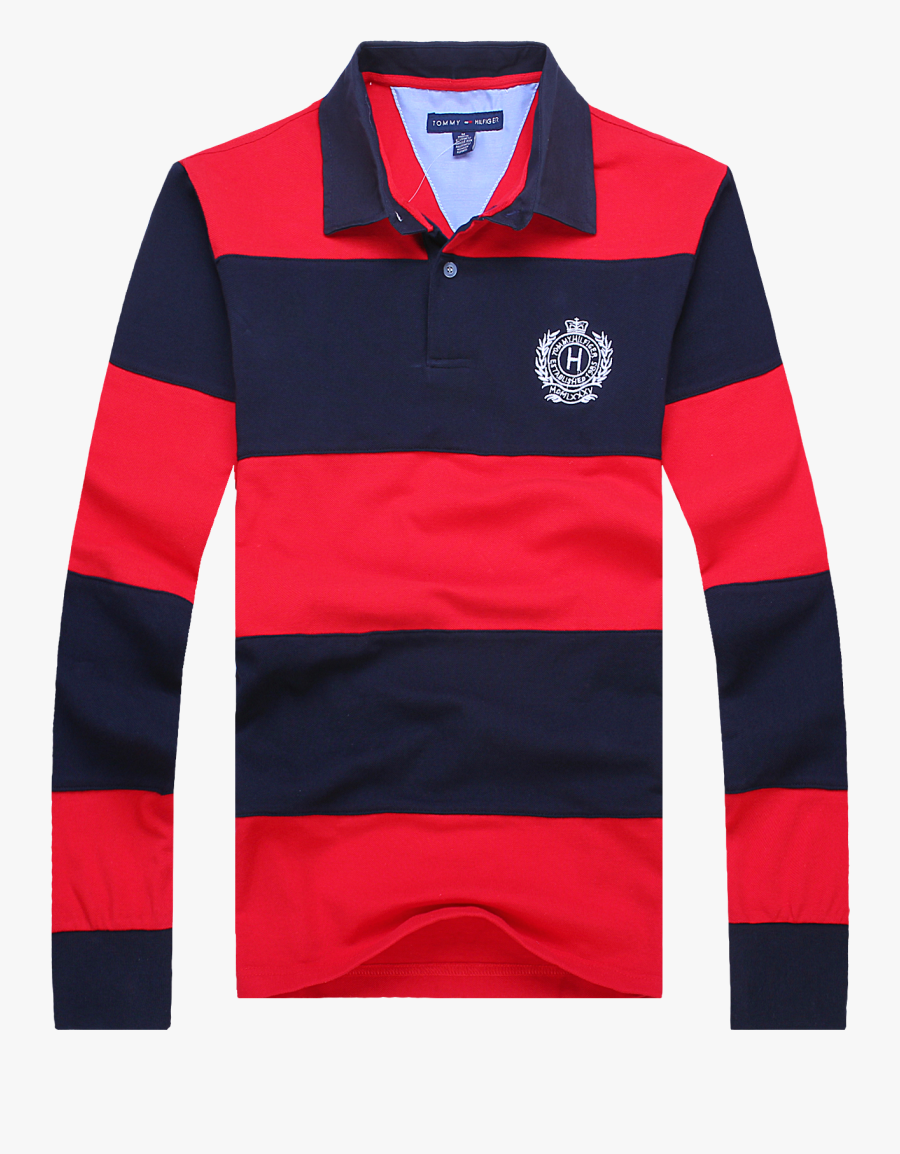 Tommy Long Sleeve Polo Clipart , Png Download - Red And Navy Striped Polo, Transparent Clipart