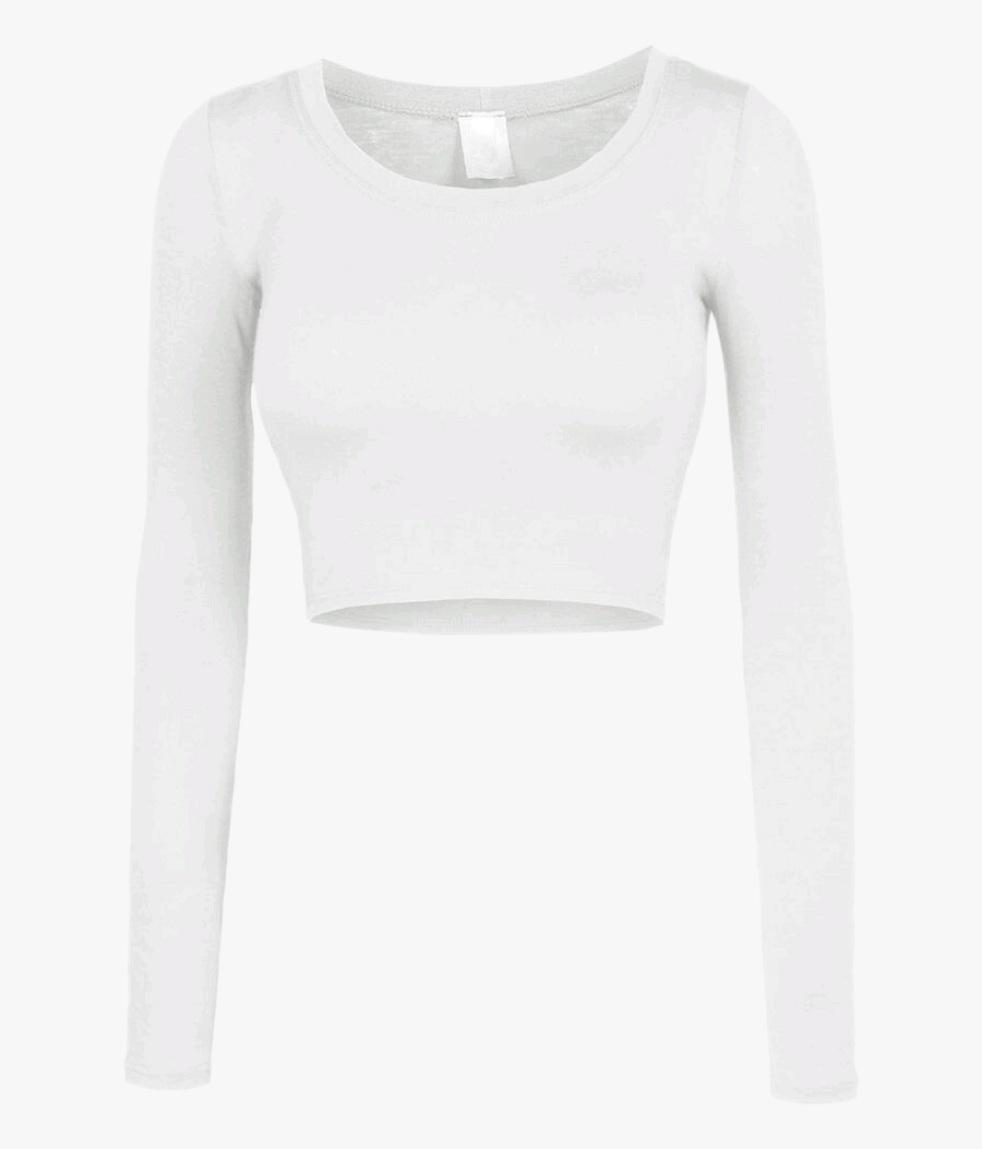 #shirt #croptop #crop #white #longsleeve #longsleeves - Long Sleeve Crop Top Clipart, Transparent Clipart