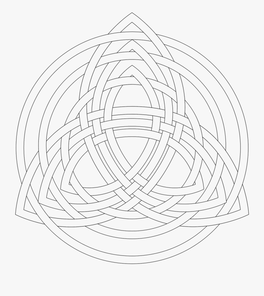 Holy Trinity Shamrock Coloring Page - Celtic Trinity Knot Colouring, Transparent Clipart