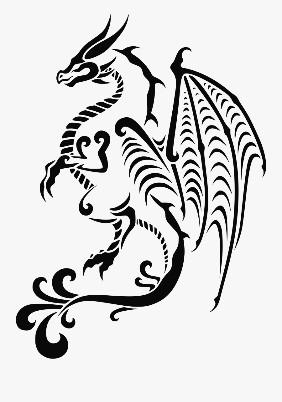 Dragon Tattoo Clip Arts - Dragon Tattoo Coloring Pages, Transparent Clipart