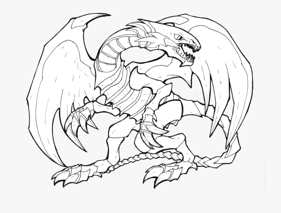 Blue Dragon Clipart Sky - Blue Eyes White Dragon Line Art, Transparent Clipart