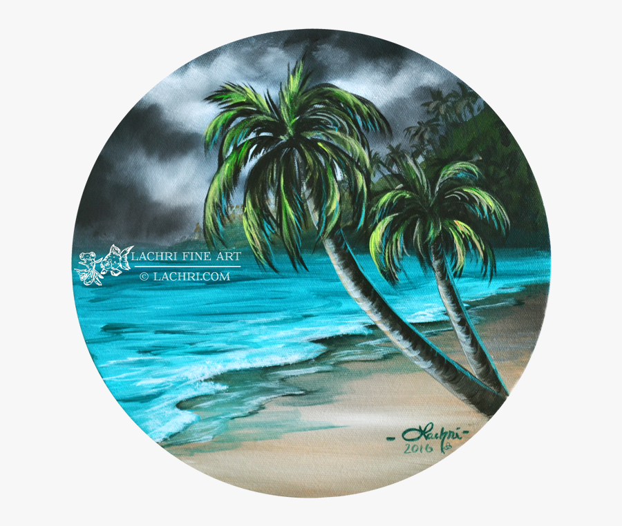Clip Art Beach Scenes Images - Palm Tree Beach Scenes With Wave, Transparent Clipart