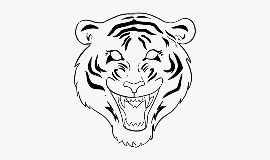 Tiger Face Drawing Png Transparent Images - Tiger Drawing Easy Face, Transparent Clipart