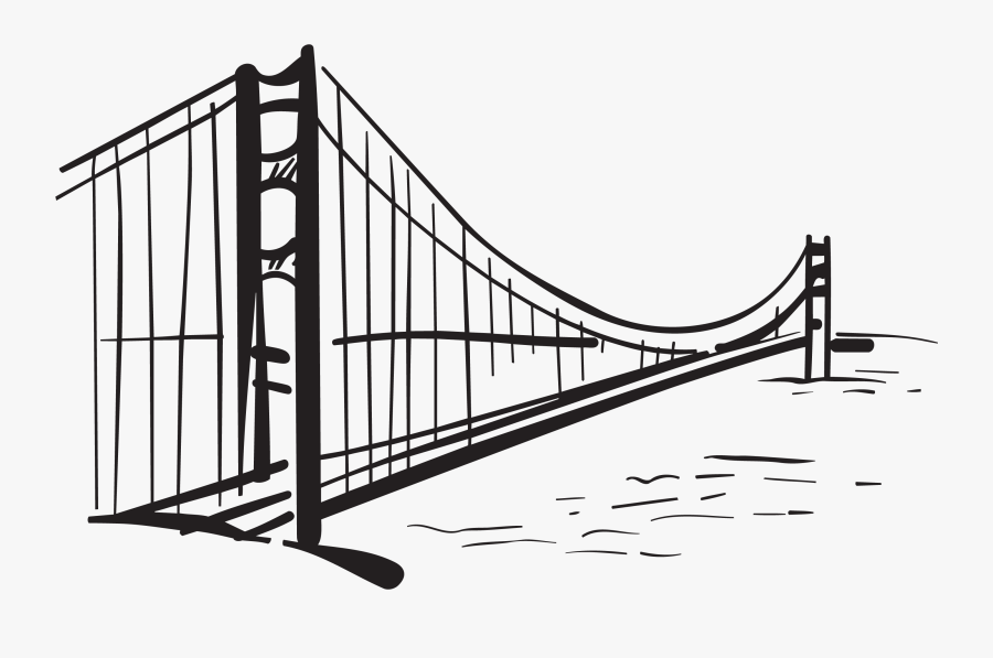 Golden Gate Bridge Drawing Silhouette - Golden Gate Draw, Transparent Clipart