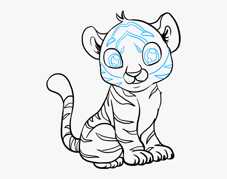 Transparent Baby Tiger Png - 4 Baby Tiger Drawing, Transparent Clipart
