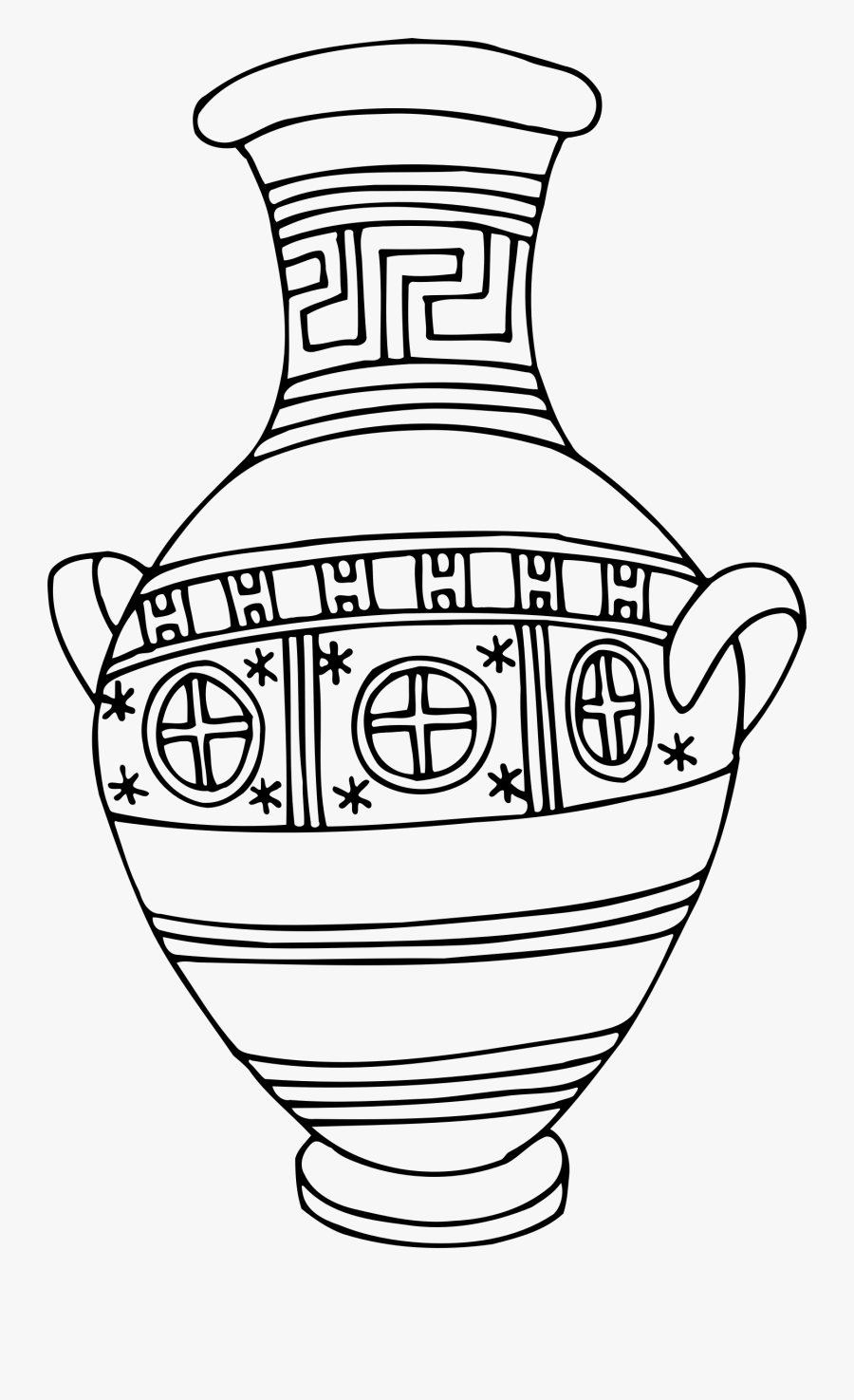 Vase 41 Line Drawing Clip Arts - Outline Drawing Of Vase With Design, Transparent Clipart