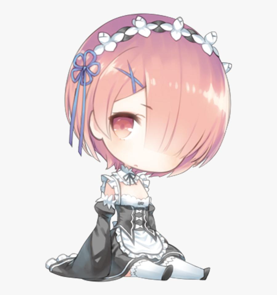 #chibi #kawaii #cute #anime #girl #rezero #rem #ram - Chibi Anime Girl Cute, Transparent Clipart